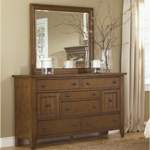 Liberty Furniture Bunker Hill Eight Drawer Dresser and Mirror Set