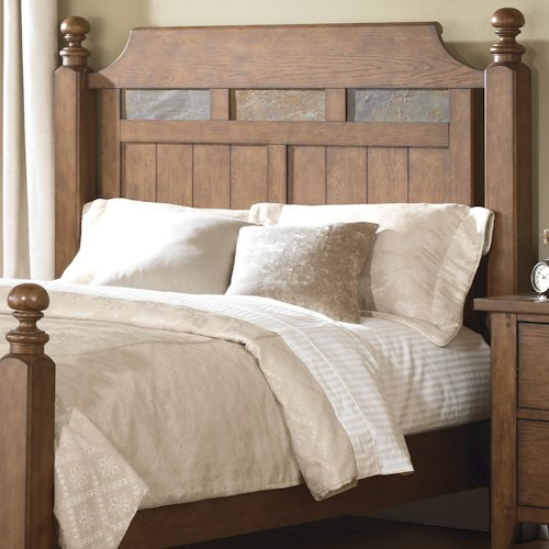 Vendor 5349 Hearthstone Queen Poster Headboard with Decorative Slate Inlay