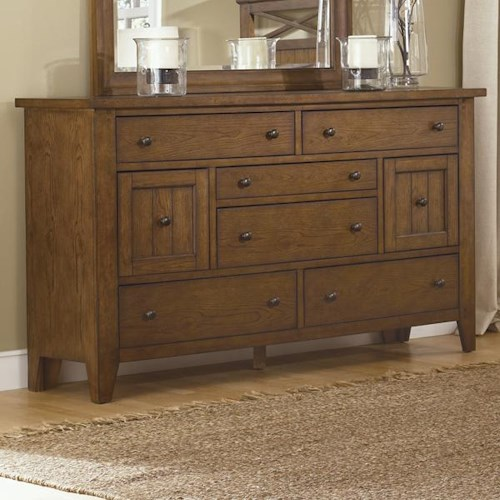 Liberty Furniture Hearthstone Eight Drawer Dresser with Plank Accents