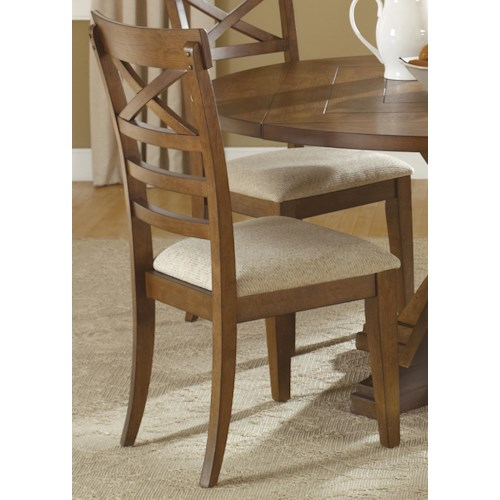 Liberty Furniture Bunker Hill X-Back Dining Side Chair with Upholstered Seat