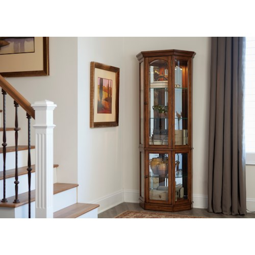 Vendor 5349 Hearthstone Transitional 2 Piece Curio with Mirrored Back