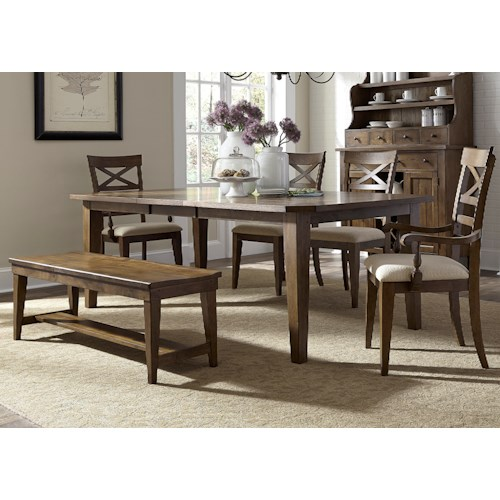 Liberty Furniture Hearthstone Mission Style 6 Piece Rectangular Table Set