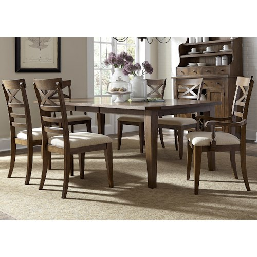 Vendor 5349 Hearthstone Opt 7 Piece Rectangular Table Set