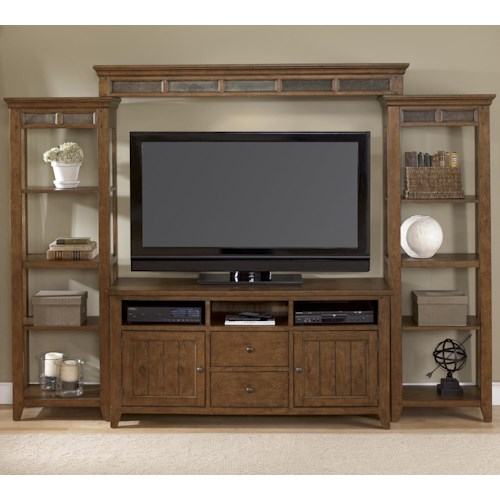 Liberty Furniture Hearthstone Entertainment Center with Piers