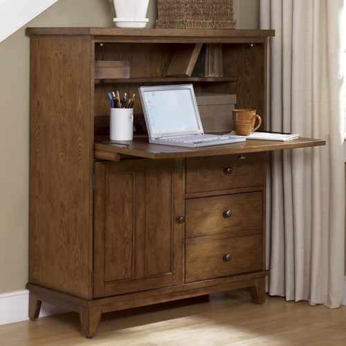 Liberty Furniture Hearthstone Drop Front Computer Storage Cabinet