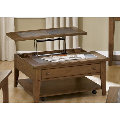 Vendor 5349 Hearthstone Lift Top Cocktail Table with Single Drawer and Shelf