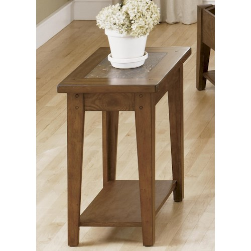Liberty Furniture Bunker Hill Chairside Table with Slate Top