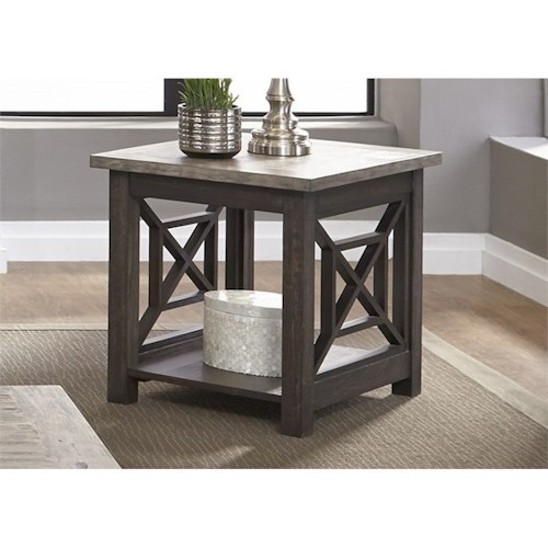 Liberty Furniture Heatherbrook Occasional End Table with Bottom Shelf