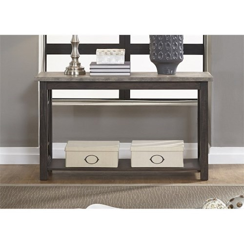 Liberty Furniture Heatherbrook Occasional Sofa Table with Bottom Shelf