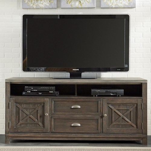 Liberty Furniture Heatherbrook Entertainment Entertainment TV Stand with Adjustable Shelves