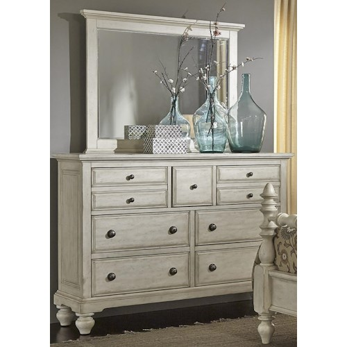 Liberty Furniture 697-BR Transitional 7 Drawer Chesser and Mirror