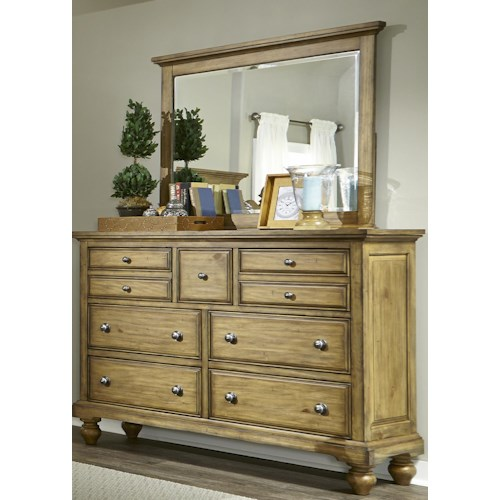 Liberty Furniture High Country Transitional 7 Drawer Chesser and Mirror