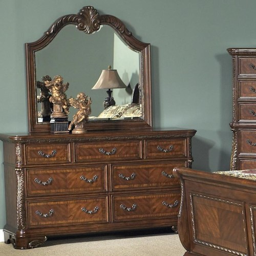 Vendor 5349 Highland Court Seven Drawer Dresser with Mirror