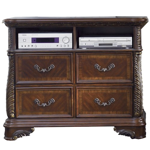 Liberty Furniture Highland Court Four Drawer Media Chest with Open Component Shelves