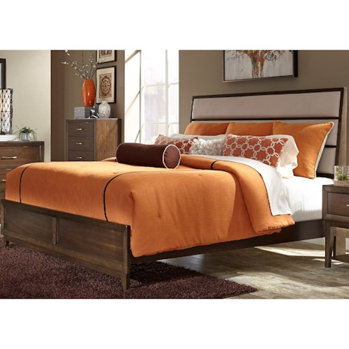 Vendor 5349 Hudson Square Bedroom King Panel Bed with Upholstered Headboard