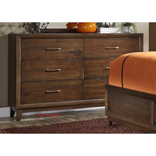 Liberty Furniture Hudson Square Bedroom 6 Drawer Dresser with Felt Lined Top Drawers
