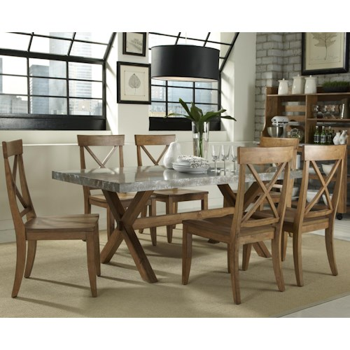 Liberty Furniture Keaton 7 Piece Trestle Table and X-Back Side Chair Set