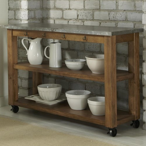 Liberty Furniture Keaton Kitchen Serving Table on Casters