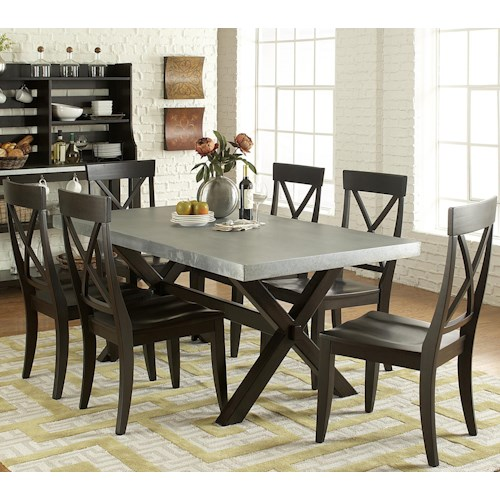 Vendor 5349 Keaton II 7 Piece Trestle Table and X-Back Side Chair Set