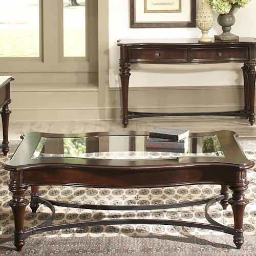 Vendor 5349 Kingston Plantation Rectangular Cocktail Table with Beveled Glass Top and Metal Stretcher