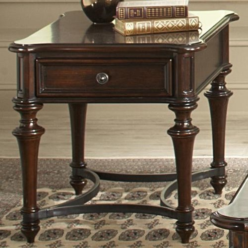 Liberty Furniture Kingston Plantation End Table with One Drawer and Metal Stretcher