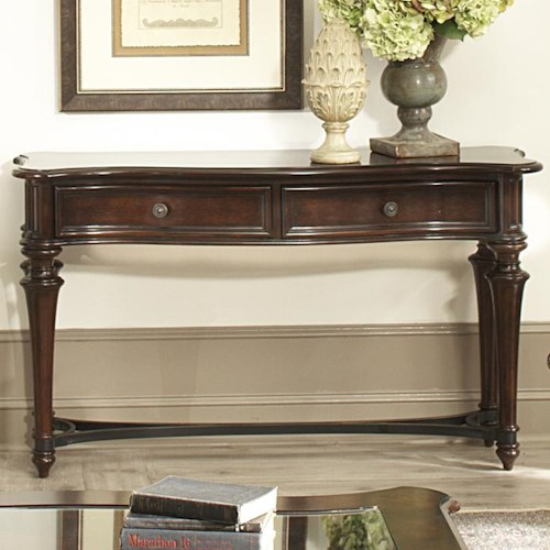 Vendor 5349 Kingston Plantation Sofa Table with Two Drawers and Metal Stretcher