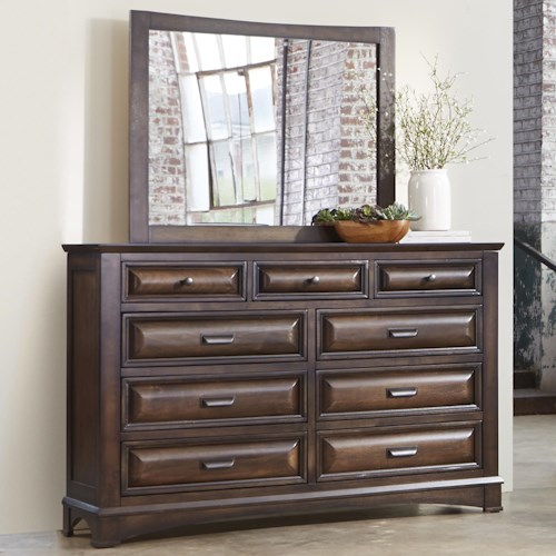 Liberty Furniture Knollwood Dresser with Nine Dovetail Drawers and Beveled Mirror