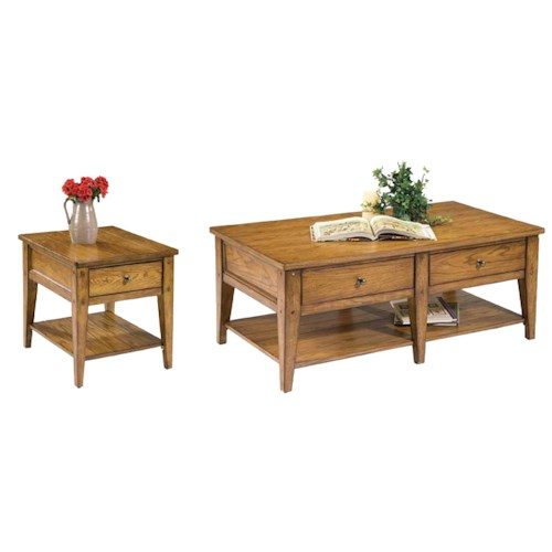 Liberty Furniture Lake House 2-Drawer Cocktail Table and End Table Set