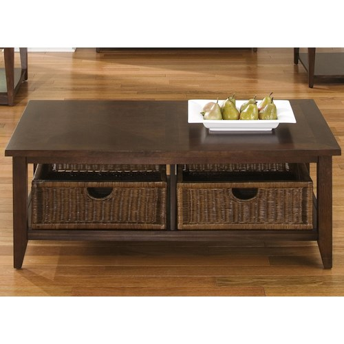 Liberty Furniture Lakewood Coffee Table w/ 2 Basket Drawers