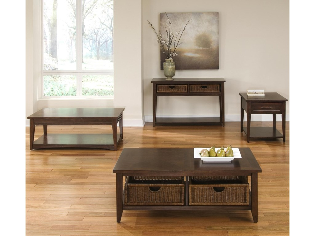 Rectangular End Table Shown in Room Setting with Rectangular Coffee Table, Basket Sofa Table and Basket Coffee Table
