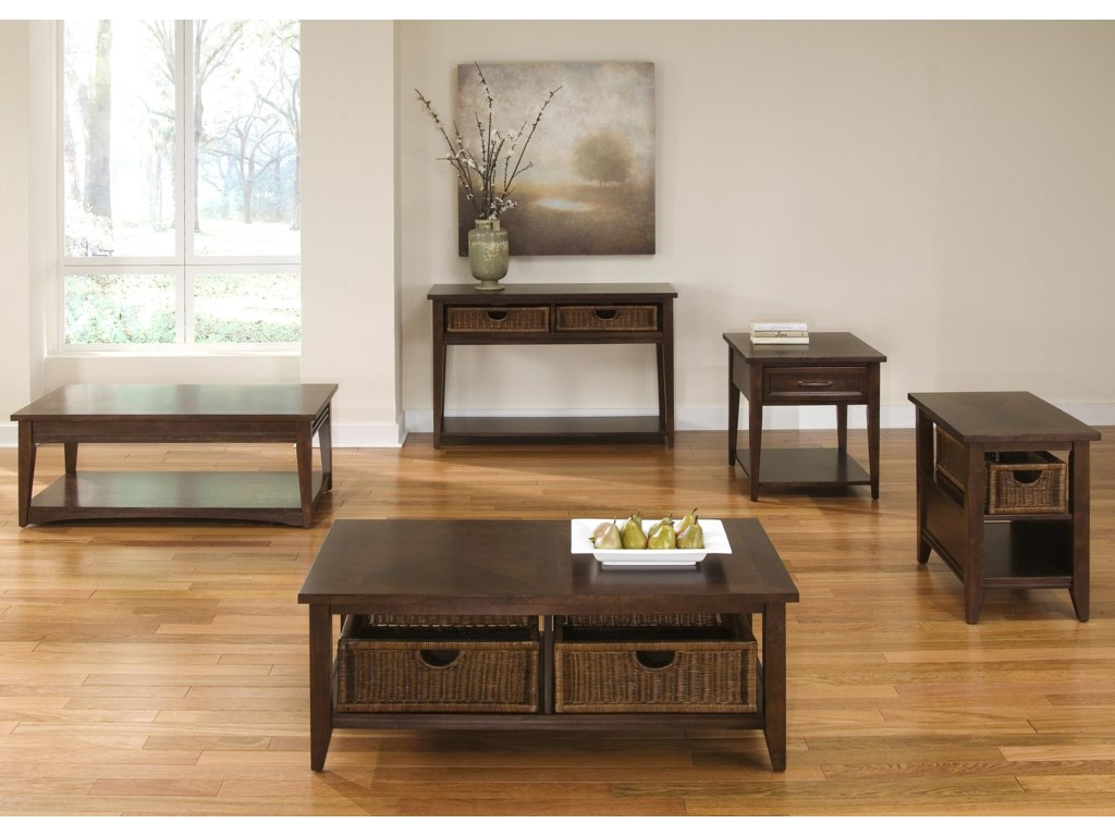 Sofa Table Shown in Room Setting with Rectangular Cocktail Table, Rectangular End Table, Basket Cocktail Table and Basket End Table