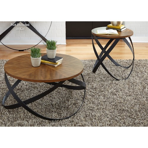 Liberty Furniture Lancaster 3 Piece Transitional Occasional Table Set with Intertwined Metal Legs