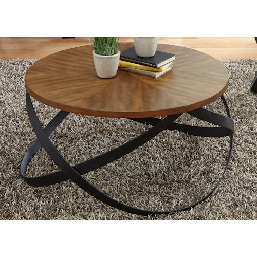 Liberty Furniture Lancaster Transitional Cocktail Table with Metal Interlocking Base