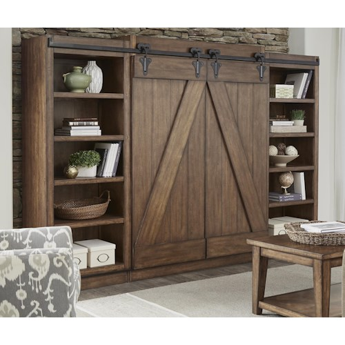 Liberty Furniture Lancaster II Entertainment Entertainment Center with Piers and Sliding Barn Doors