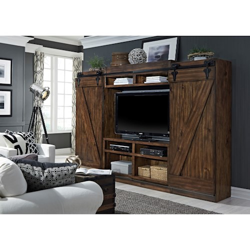 Vendor 5349 Lancaster Entertainment Center with Piers and Sliding Barn Doors