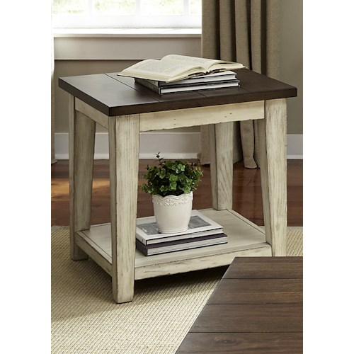Liberty Furniture Lancaster Rustic End Table with Light Distressing
