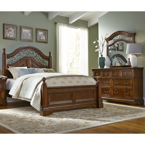 Liberty Furniture Laurelwood King Poster Bed, Dresser & Mirror