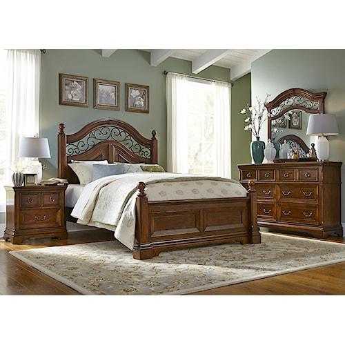 Vendor 5349 Laurelwood King Poster Bed, Dresser & Mirror, N/S