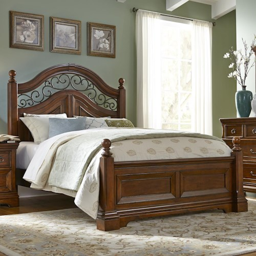 Liberty Furniture Laurelwood King Poster Bed with Scrolled Metal Accents