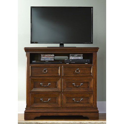 Liberty Furniture Laurelwood 3 Drawer Media Chest with 2 Open Compartments