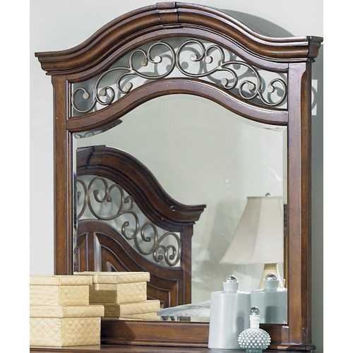 Liberty Furniture Laurelwood Square Mirror with Scrolled Metal Accents