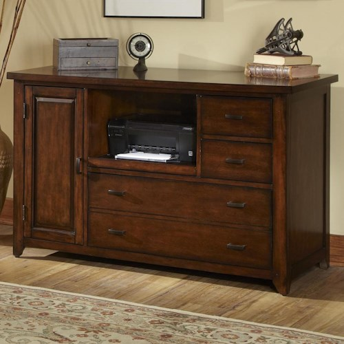 Liberty Furniture Leyton Credenza with Built-in File Drawer and Pull Out Shelf
