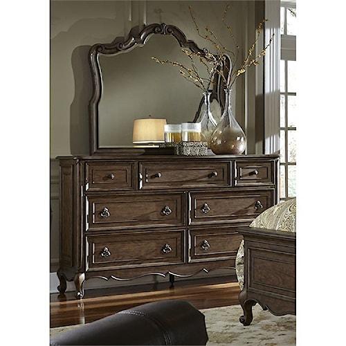 Liberty Furniture Lorraine 7 Drawer Dresser & Mirror with Wood Frame