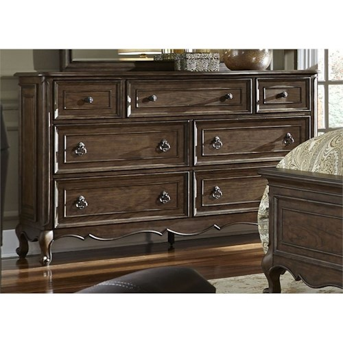 Liberty Furniture Lorraine 7 Drawer Dresser with Felt-Lined Top Drawers