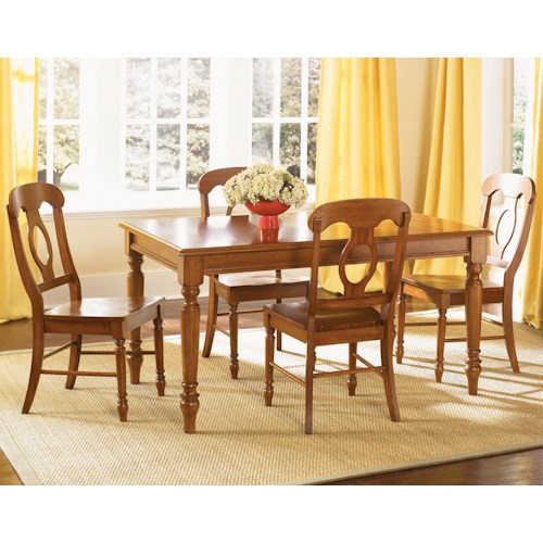 Liberty Furniture Low Country Five Piece Rectangular Table and Napoleon Char Set