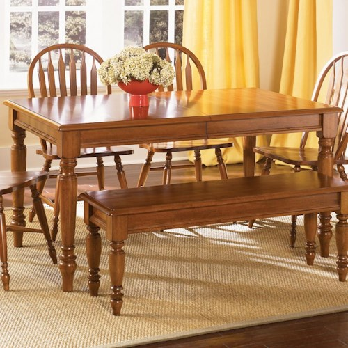 Vendor 5349 Low Country Rectangular Dining Table with Turned Legs