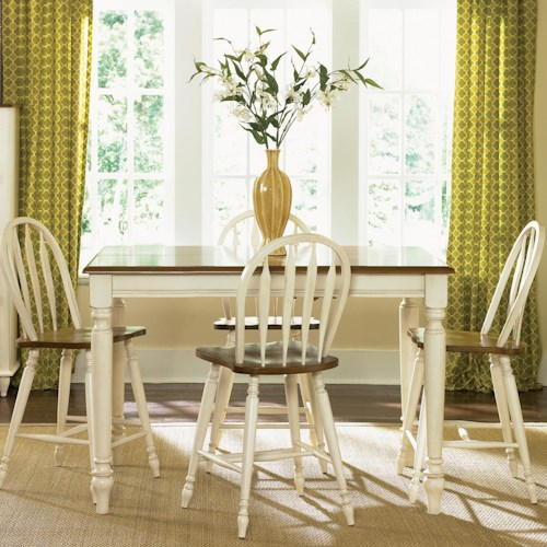 Vendor 5349 Low Country Five Piece Gathering Height Set with Turned Legs