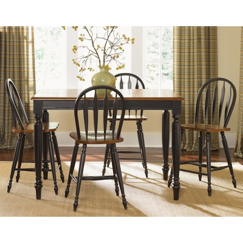 Liberty Furniture Low Country Five Piece Gathering Height Set with Turned Legs