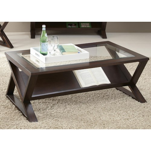 Liberty Furniture Madison Rectangular Cocktail Table with Glass Top and Triangle Shaped Legs