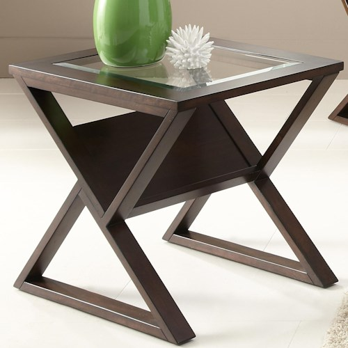 Liberty Furniture Madison End Table with Glass Top and Angled Shelf